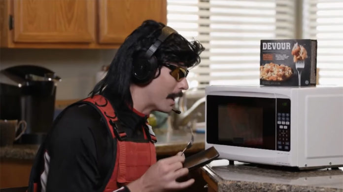 Dr. Disrespect promoting Devour brand Microwave meals