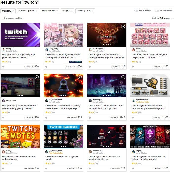 twitch graphics designers on fiverr